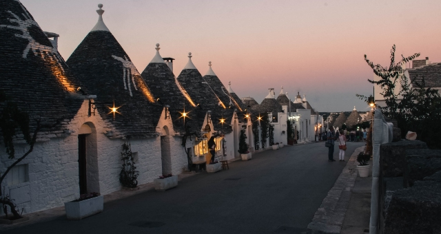The beautiful town of Alberobello, unique architecture, day trip from Bari port, ferry tickets to Greece
