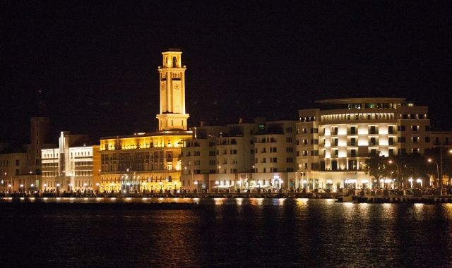 Nightlife in Bari, city lights, port, tourism, holidays in Italy, ferry routes to Greece, Albania, Croatia