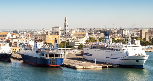 Ferries at the port of Brindisi, southeast Italy, Apulia region, ferry routes to Greece and Albania