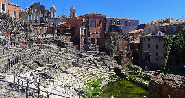 Roman theater, archaeological site, city and port of Catania, Sicily, holidays, ferry tickets