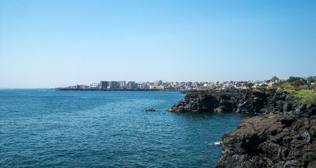 Cliffs, sea view, landscape, port of Catania, Sicily, ferry routes and tickets
