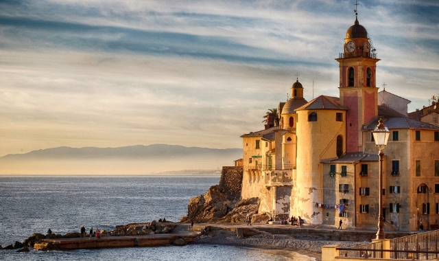 Sunset in Camogli,  architecture and light, Genoa, Barcelona, ferry routes to Spain and Italy