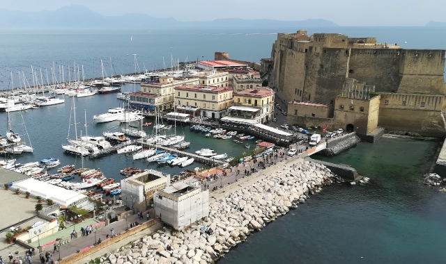 Port, boats, ferries, hydrofoils, Castle of Naples, Ischia, Ferry routes