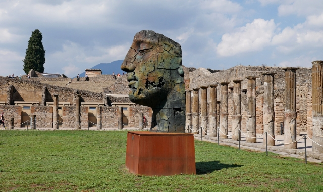 Face monument, archaeological site, Naples, Sorrento, ferry routes