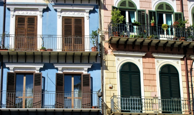 Blue and pink balconies, Italian architecture, wooden frames, Naples, Palermo, ferry routes