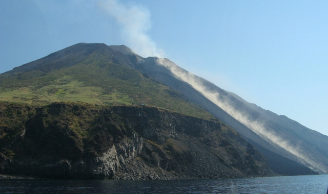 The active volcano of Stromboli, sea and nature, ferry route from Naples