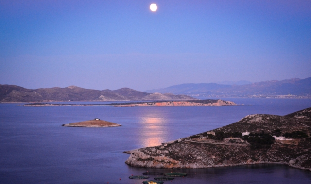 moon over the sea, view of Kalymnos