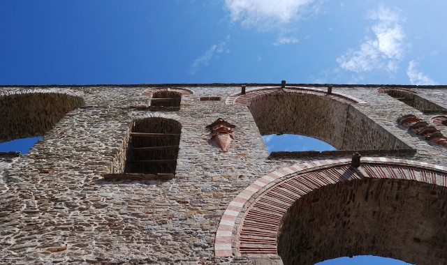 stone monument in Kavala, sky, arches