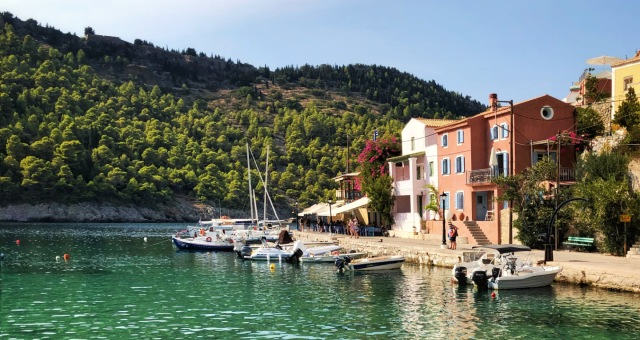 The fishing village of Fiscardo in the north coast of Cephalonia (Kefalonia), colour houses, boats, holidays, nature, ferry routes