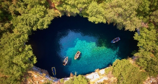 The cave lake of Melissani in Kefalonia