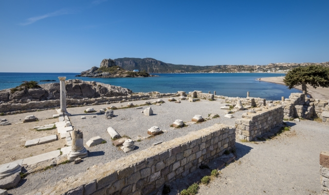 Archaeological site in Kos, ruins, ancient history, beach, blue sea, ferry tickets to Dodecanese