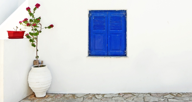 Blue window, white house, red flowers, minimal, colours, small cyclades, Koufonisia, ferry tickets
