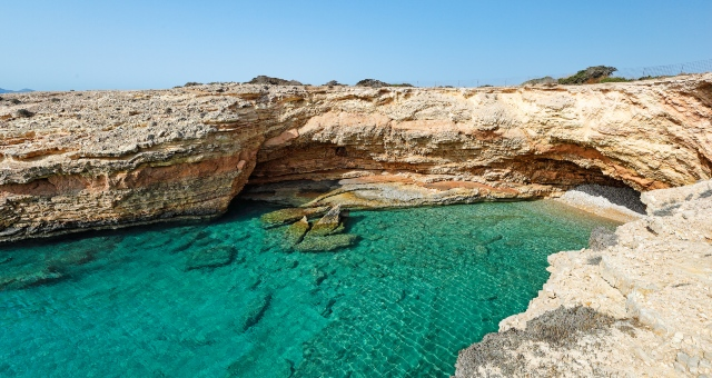 Rocks and blue waters in Koufonisia