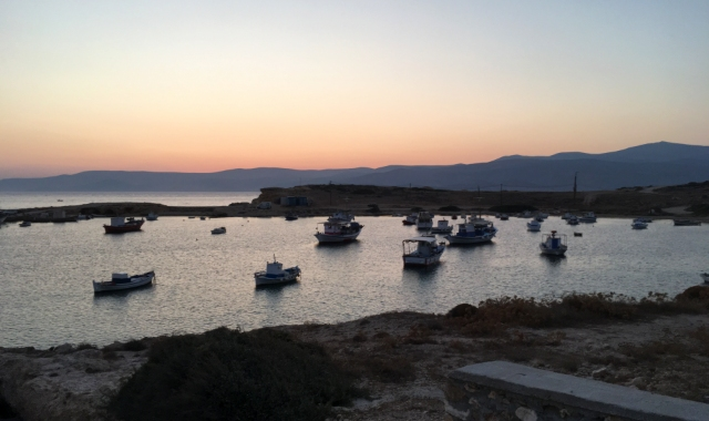 Sunset in Koufonisia island, fishing boats, port, ferry routes, Small Cyclades, holidays, island-hopping