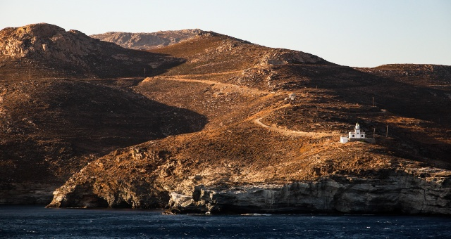 Small chapel in the rocky landscape of Kythnos