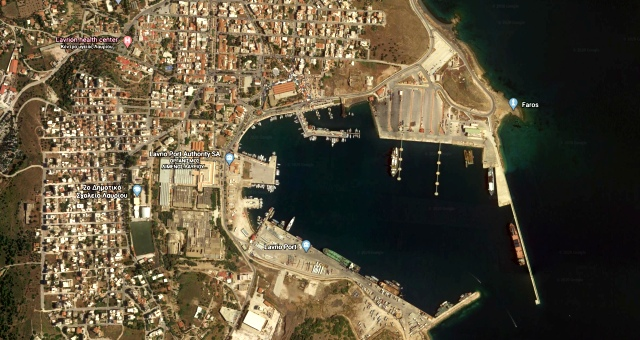 The port of Lavrio in Google Earth