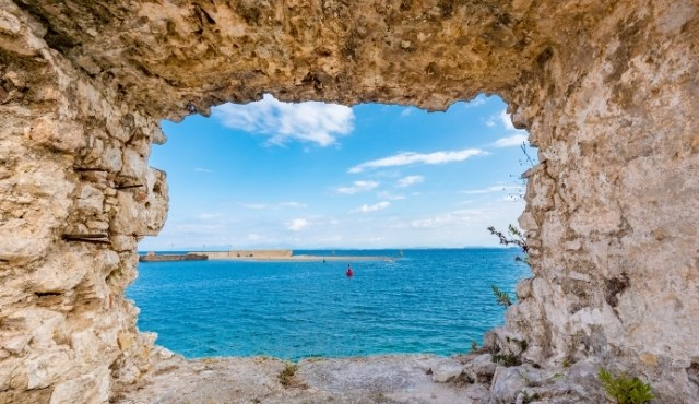 Sea view from the Castle of Agia Mavra close to Chora