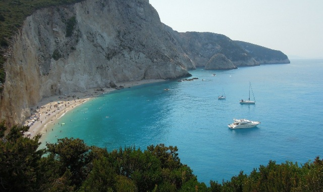 The popular sandy beach of Porto Katsiki
