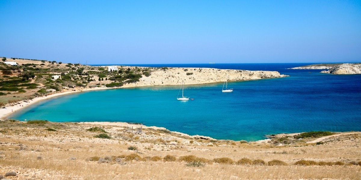 Beach in Leipsoi with turquoise waters