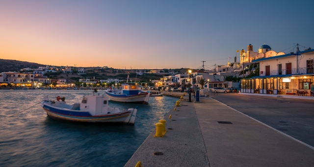 The port of Leipsoi at sunset
