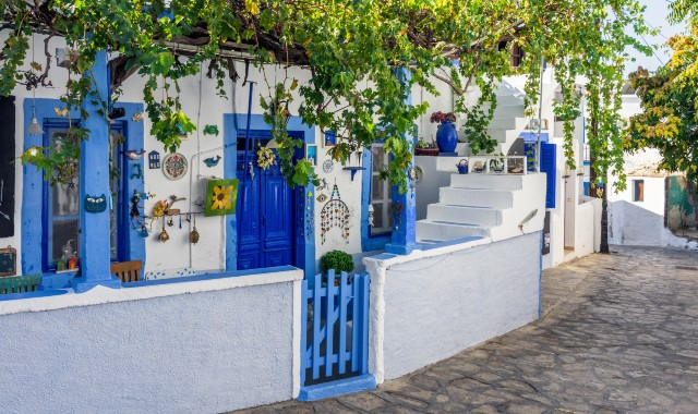 Traditional blue and white house in Leipsoi