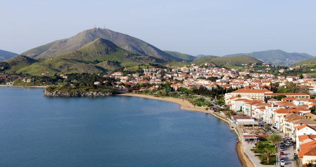 the port of Myrina on the lake, buildings, mountain, sea