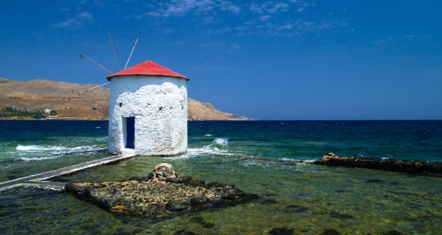 windmill at the beach of Leros