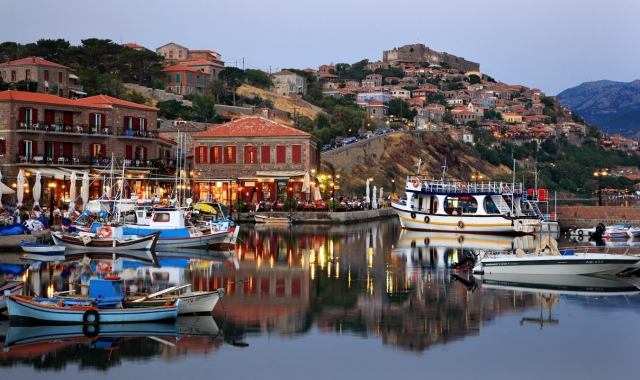 The village and harbor of Molyvos, in Lesvos. Find cheap ferry tickets to Lesvos