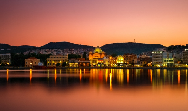 The port of Mytilene in Lesvos, over sunset - book cheap ferry tickets from Athens