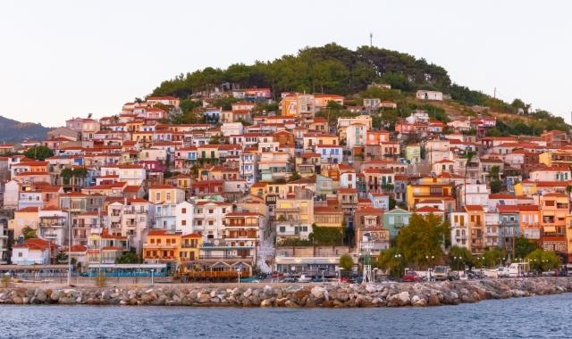 The village of Plomari in Lesvos