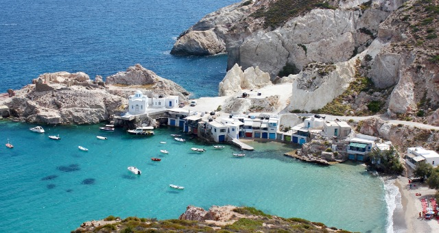 Mandrakia settlement in Milos, beach, houses, fishermen, sea, Cyclades