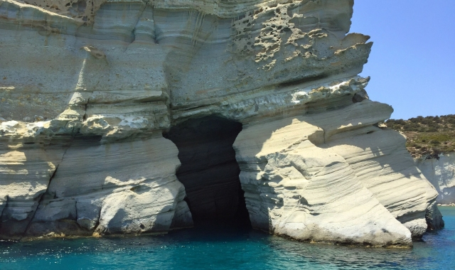 White cave in Milos, crystal waters, Kleftiko beach, ferry tickets