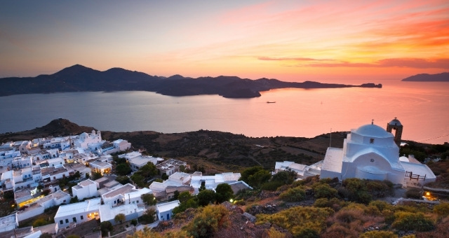 Sunset from the village of Plaka in Milos