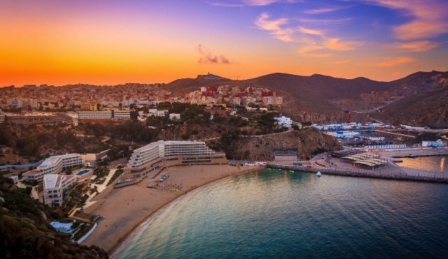 al hoceima, port, sunset, morocco, sea, buildings, mountains