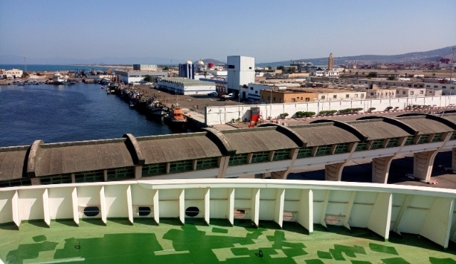 nador, port, ferry, deck, buldings, mediterranean sea, lagoon. blue sky