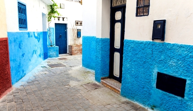 tangier, medina, old town, blue walls, colorful houses, arab architecture, alleyway, local houses