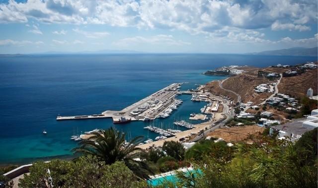 port view, new port of Mykonos, sea, ferries, docks, trees, buildings, sky