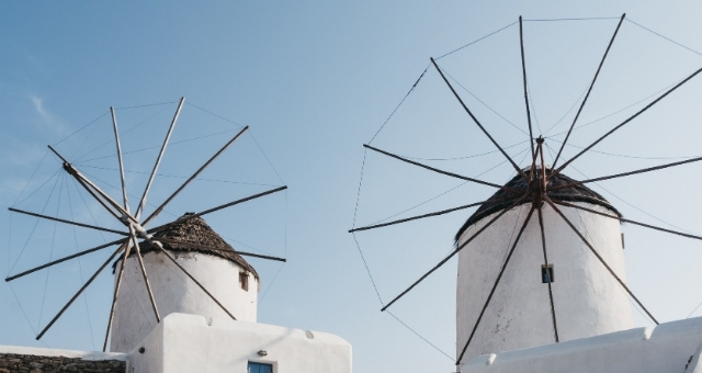 Windmills, Mykonos, white houses, blue sky,