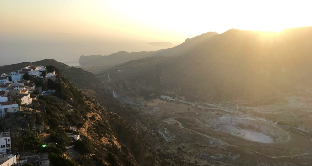 The volcano of Nisyros at sunset