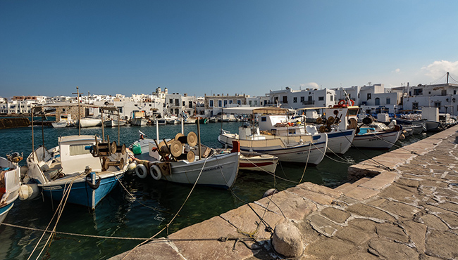 port, boats, white buildings, Paros, Naoussa, ferry tickets