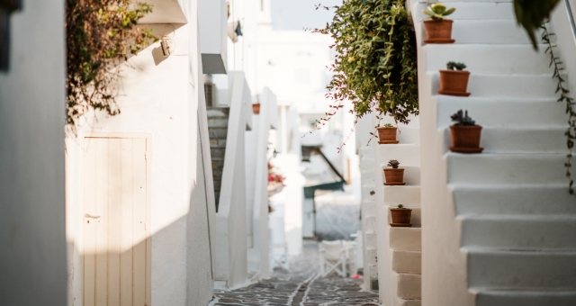 white buildings, alley, plants, stairs, Paros