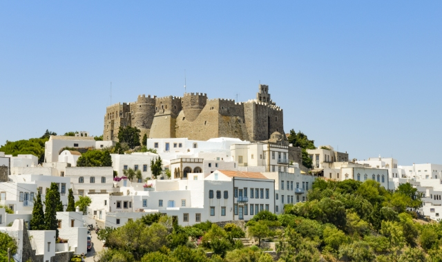 patmos, castle, chora, village, houses, greek island