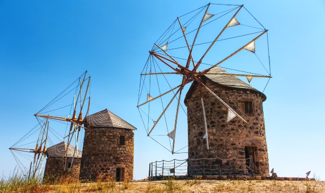 patmos, stone windmills, island, tradition, blue sky