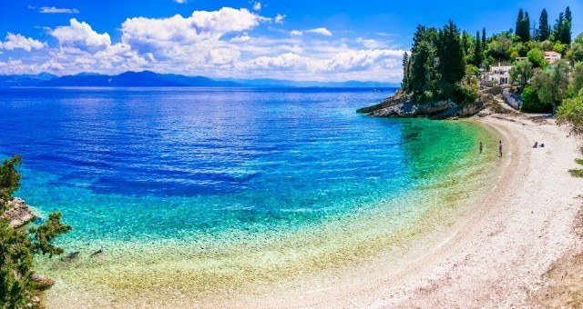 Amazing emerald waters at Levrechio beach in Paxi