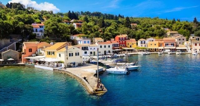 Colorful houses at the seaside village of Longos