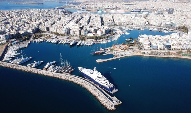 aerial view of the port of Piraeus, sea and ferries, buildings, ferry tickets to Aegean