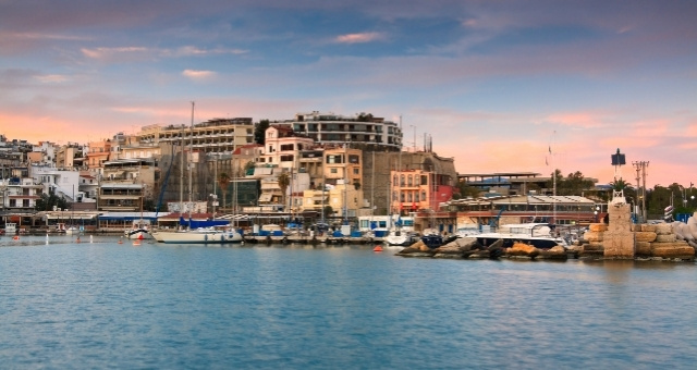 Sunset in the marina of Mikrolimano, port of Piraeus, buildings, boats