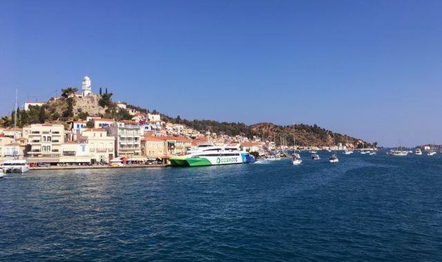 High-speed ferry at the port of Poros