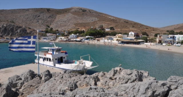 Ferry at the port of Pserimos