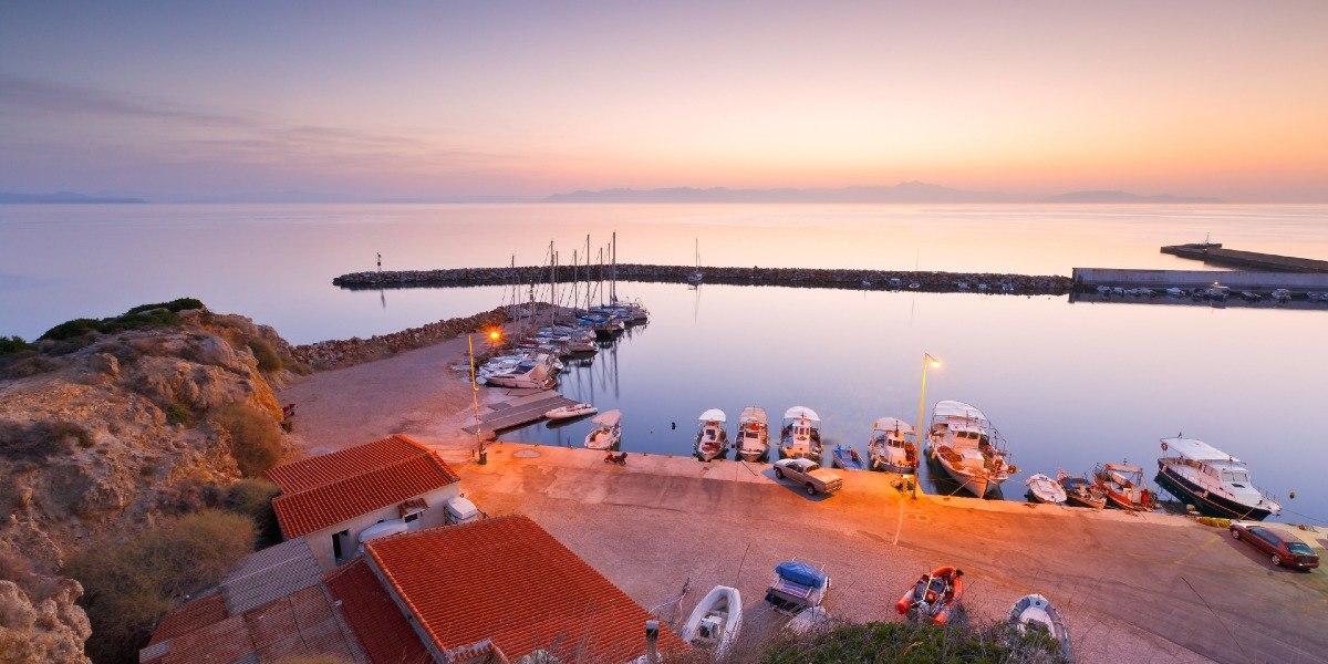 Sunset hour at the port of Rafina